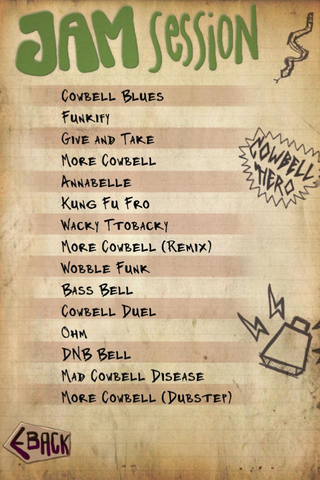 Cowbell Jams Set List